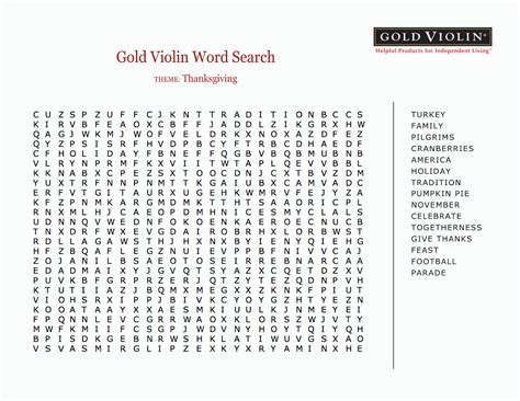 5 thanksgiving word search for