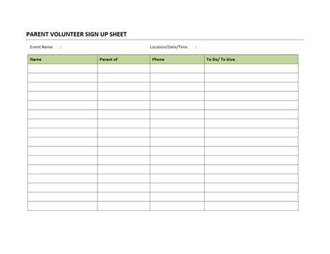 Snack Sign Up Sheet Impression Photo Volunteer Template Scholarschair Signature List Template