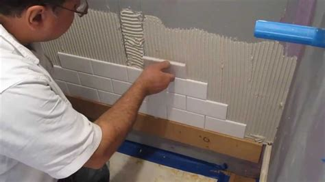 how to put tile on wall in bathroom subway tile shower install time lapse youtube