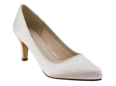 Wedding Shoes Ivory Lace by Rainbow Club Ivory Lace Mid Heel Wedding Shoes