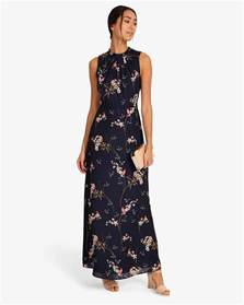 gaynor floral full length dress navy phase eight