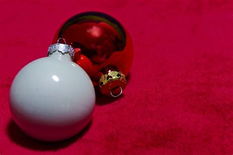 red and white christmas ornaments free stock photo