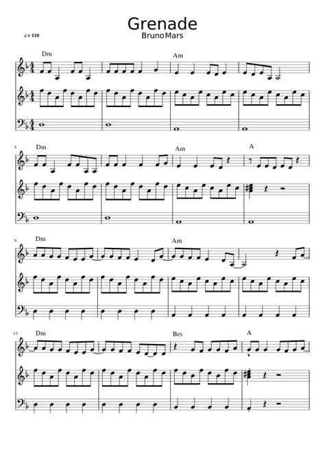 Grenade Bruno Mars sheet music for Piano download free in