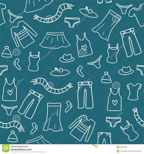 seamless pattern fashion seamless clothes doodle stock image image 34300851