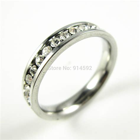 316l stainless steel clear cz inlay engagement wedding