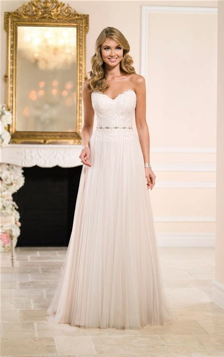 Flowing Wedding Dresses by Sheath Strapless Lace Tulle Flowing Wedding Dress Crystals