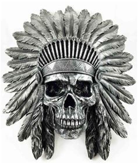 Headdress Of The Sleeper by Indian Chief Skull In Headdress Wall Mount Shop Junkyard Pony Wall Mount Pewter