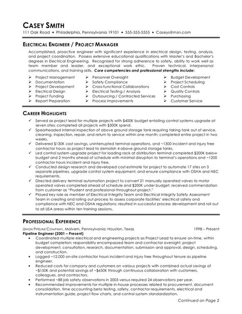 electrical project engineer resume format electrical engineer resume sle 2016 resume