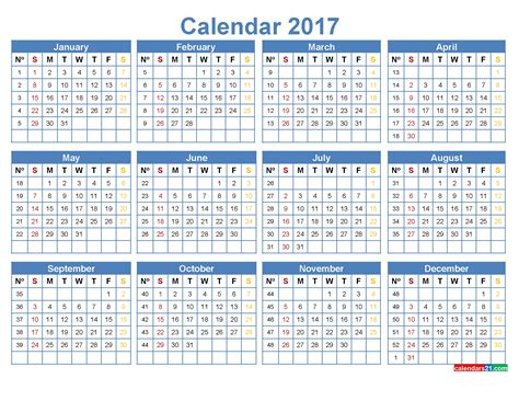 calendar template numbers printable calendar with week numbers 2017 free calendar 2017