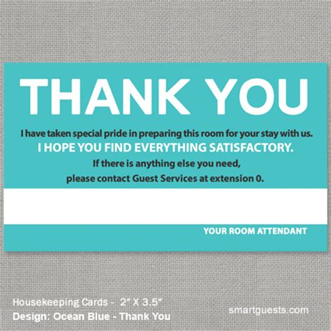 Thank You Letter After For Housekeeping Housekeeping Cards