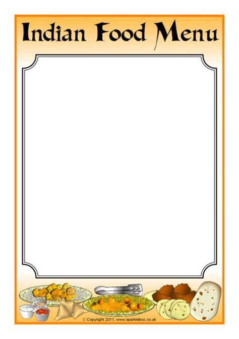 indian menu template indian food menu writing frame sb3862 sparklebox