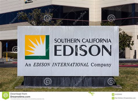 southern california light company southern california edison sign and logo editorial