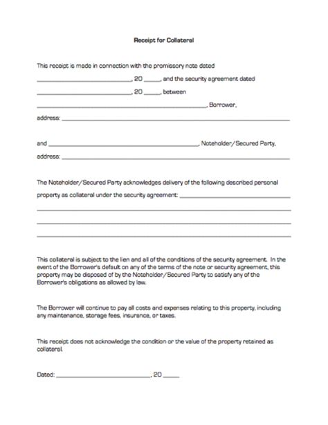 loan agreement with collateral template receipt for collateral business forms