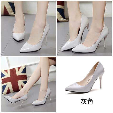 Sepatu Fashion Glossy Br8297 jual shh918 gray sepatu heels glossy fashion 9 5cm grosirimpor