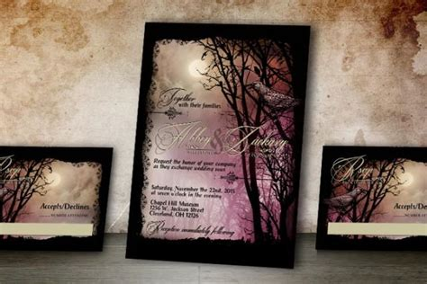 printable halloween wedding invitations halloween wedding invitation and rsvp spooky wedding