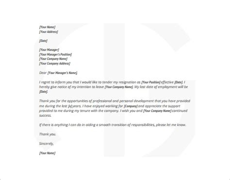 resignation letter exles 19 free word excel pdf