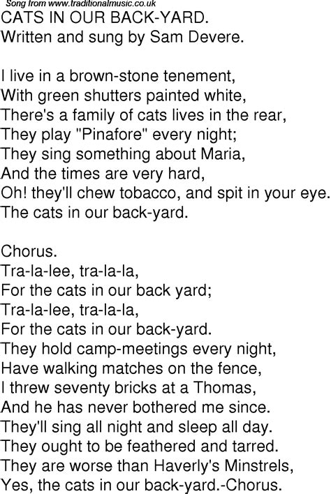 In Backyard Lyrics by Time Song Lyrics For 07 Cats In Our Back Yard