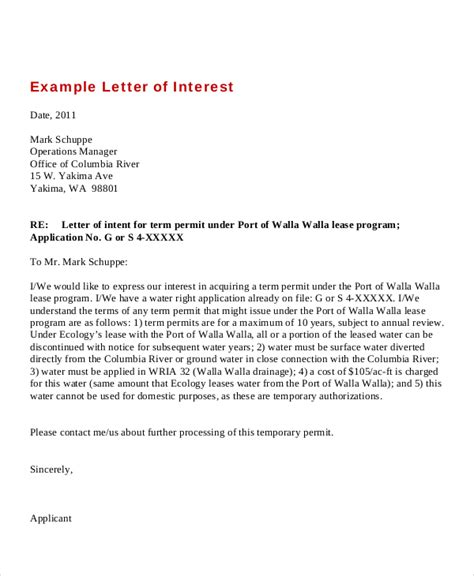 Letter Of Interest Template For A by 9 Letters Of Interest Free Sle Exle Format