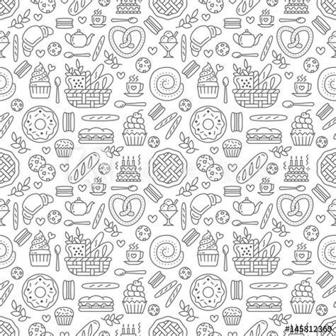 bakery seamless pattern food vector background  black