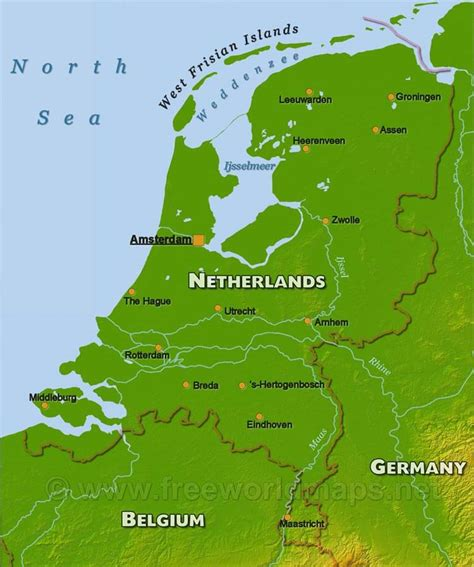 netherlands geography map the netherlands physical map
