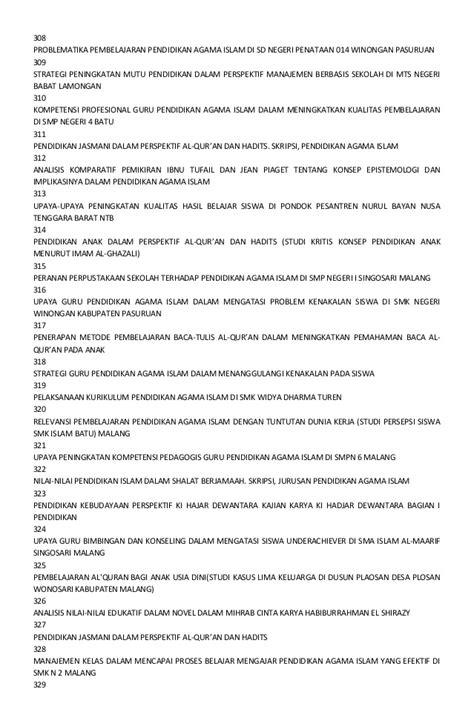 Pendidikan Agama Islam Upaya Pembentukan Pemikiran Dan Kepribadian daftar judul skripsi