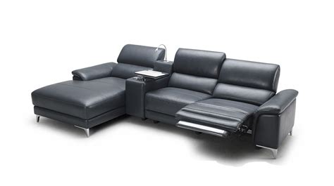 modern leather reclining sofa juniper modern full leather sectional sofa w recliner