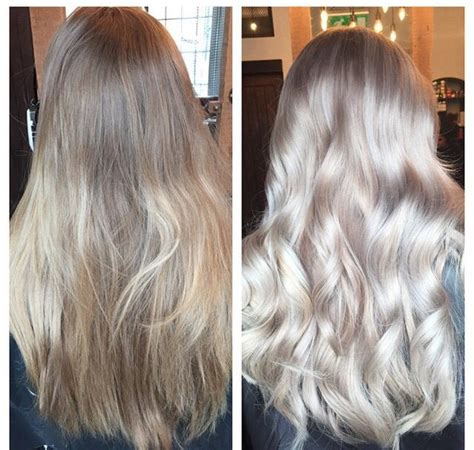silver and blond hair colors faded dirty blonde to a fab silver ash blonde balayage