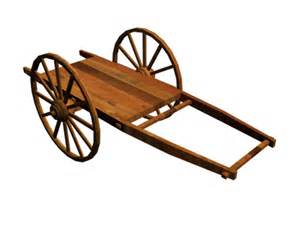 Wooden wagon two wheel cart japan 3ds 3d studio max software