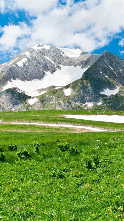 wallpaper snow mountains green landscape scenery