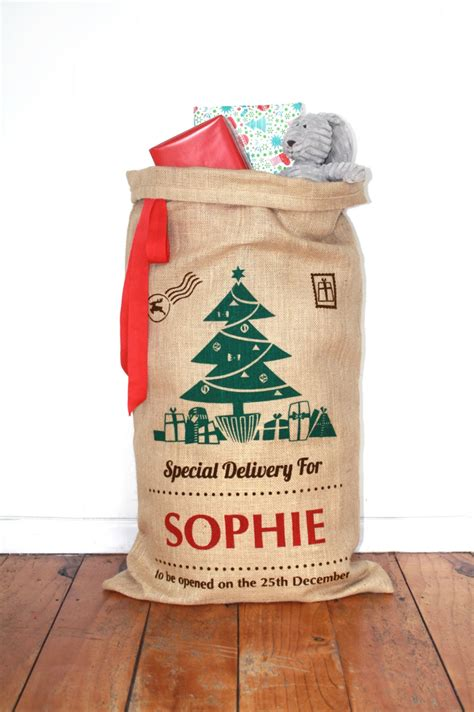 personalised hand screenprinted santa sack christmas tree