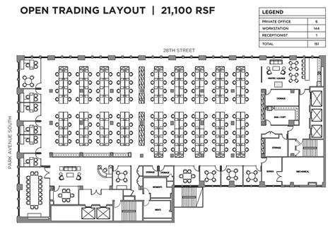 open office floor plan 401 park avenue south