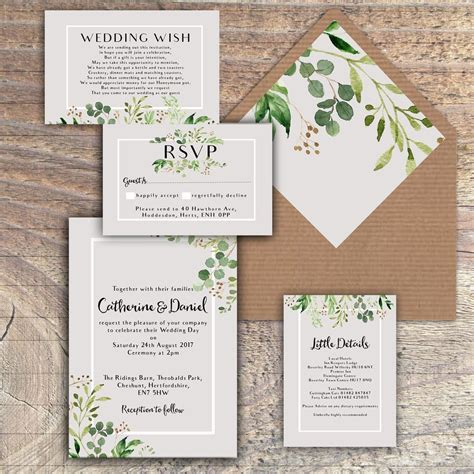 personalised luxury rustic wedding invitations green grey leaves packs of 10 ebay