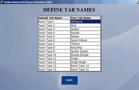 Room Names by Assign Room Tab Names Bpa Hotel Professional Operation