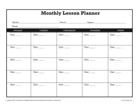 monthly lesson plan template secondary
