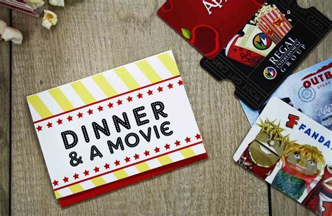 Dinner Movie Gift Cards - free printable give date night for a wedding gift gcg