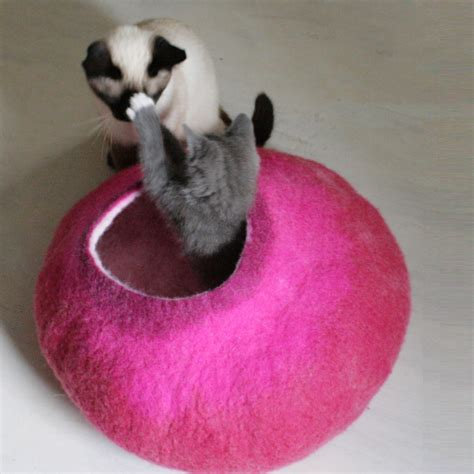 pink cat bed felted wool cat bed pink