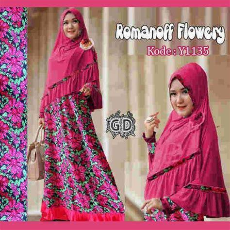 Gamis Jersey Cantik Motif Kembang gamis cantik romanof flower y1135 busana muslim pesta