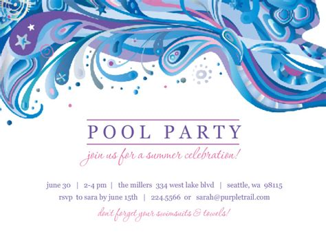 blue and purple swirl pool party invite template