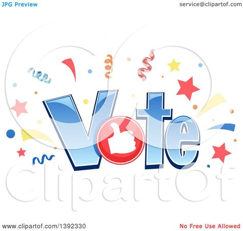 clipart word clipart of the word vote with confetti and a thumb
