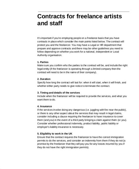 freelance employment contract template freelance contract templates 7 free word pdf format