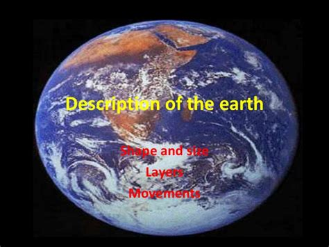 description of the earth