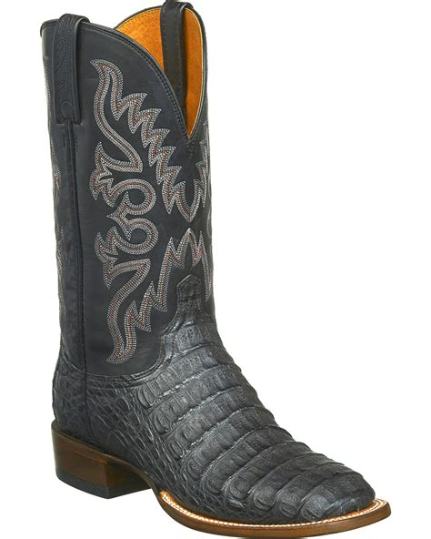 lucchese caiman square toe boots lucchese s fisher hornback caiman leather horseman