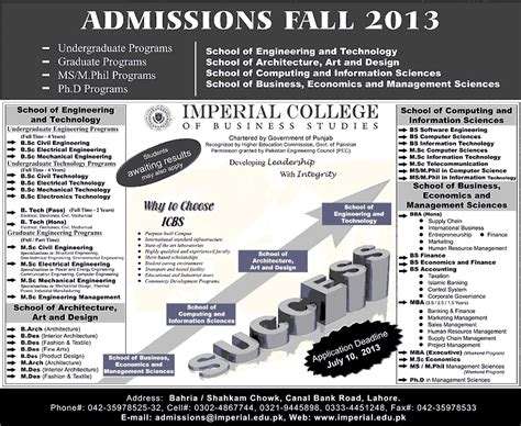 Mba Or Msc After Bsc by Imperial College Lahore Admissions 2016 Bs Bsc Bba Mba Msc