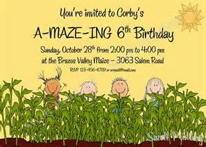 corn maze birthday party invitation