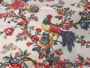 French Country Rooster Curtains - fabric white red blue green toile bird animal french country