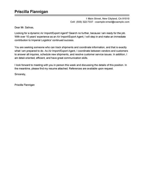 Import Export Cover Letter by Best Air Import Export Cover Letter Exles Livecareer