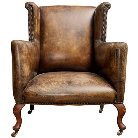 distressed leather recliners low wing chair with distressed leather at 1stdibs
