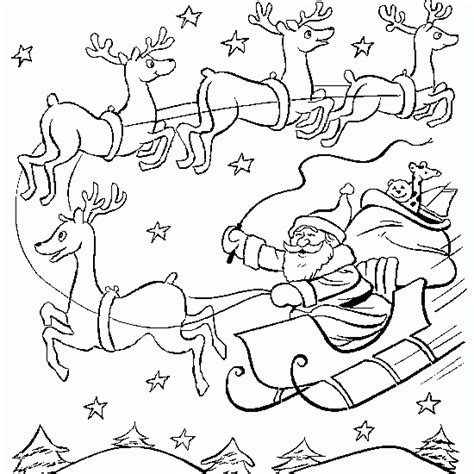 coloring page of santa in his sleigh free coloring pages of santa on his sleigh