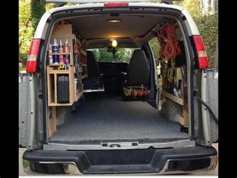 work van layout ideas work van with custom diy wood shelving for tools youtube