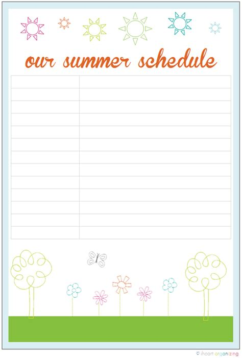 Iheart Organizing Our Summer Schedule Free Summer C Schedule Template